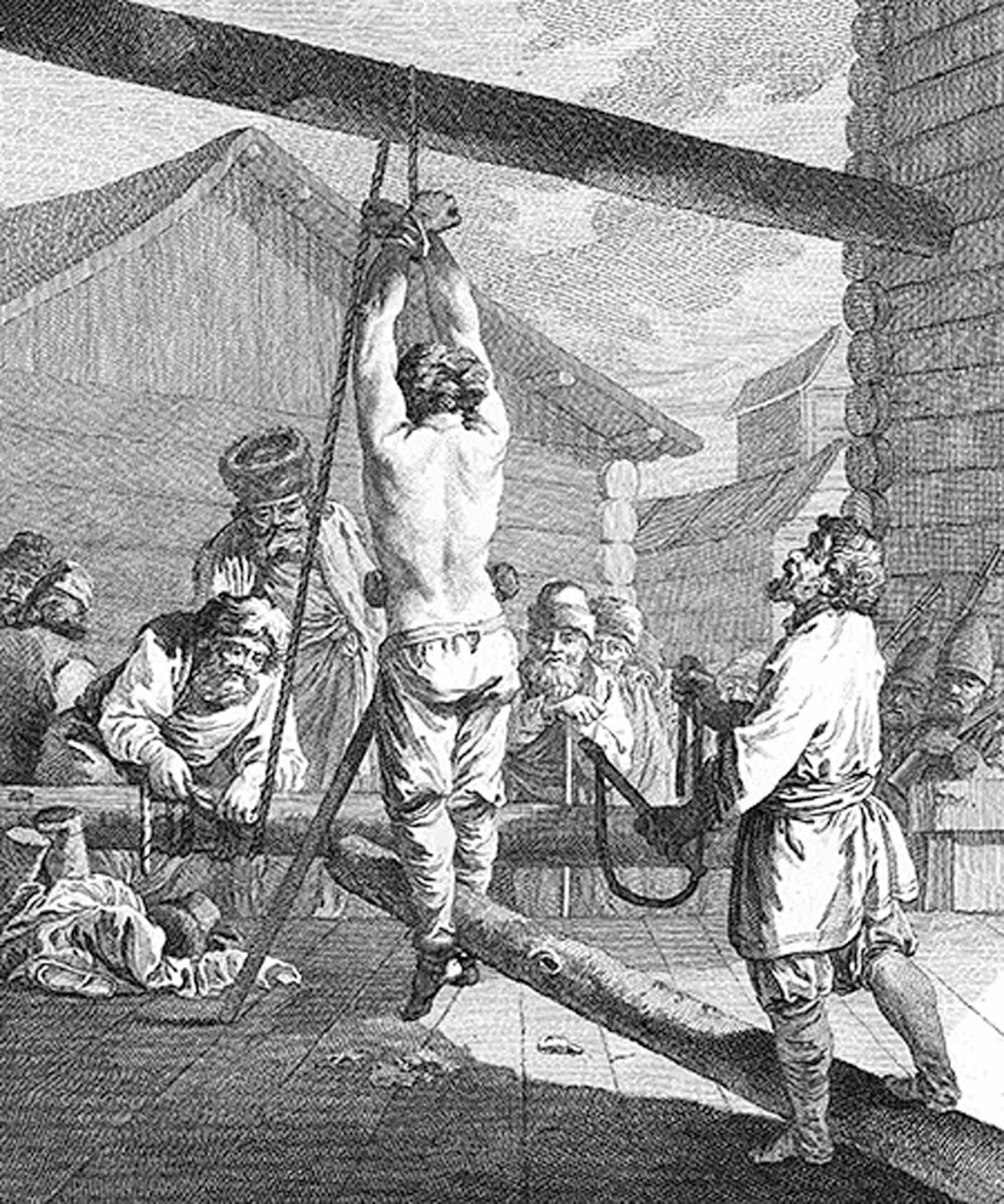 Наказание крепостного кнутом в Сибири