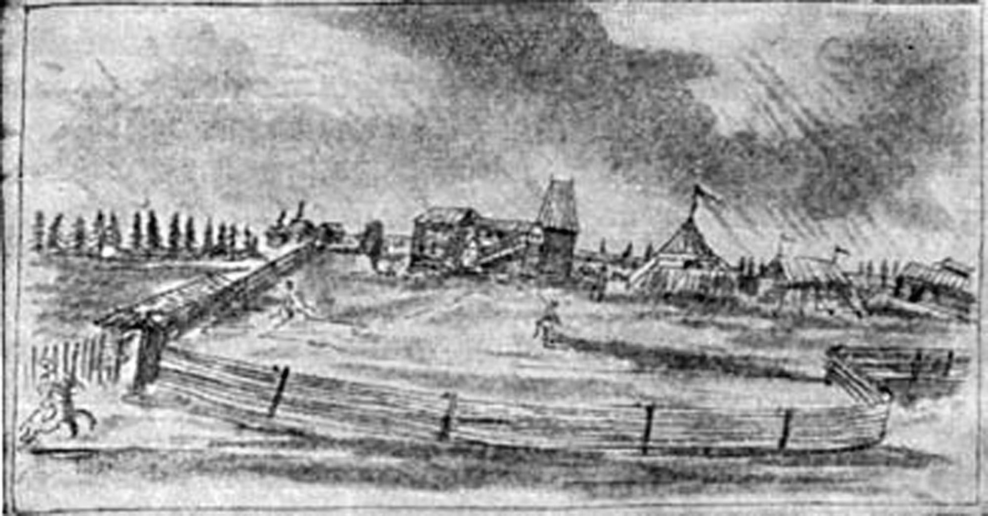 Усадьба помещика. Рисунок из альбома Майрберга 1661-1662 гг.