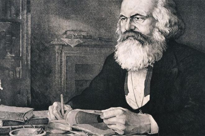 Карл Маркс что-то пишет