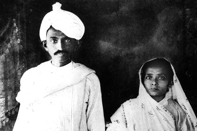 Махатма Ганди с женой