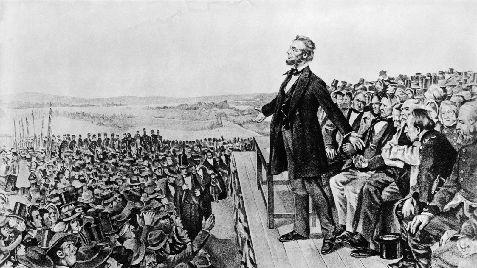 Авраам Линкольн напротив толпы