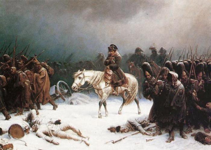 Наполеон с армией замерзает в России