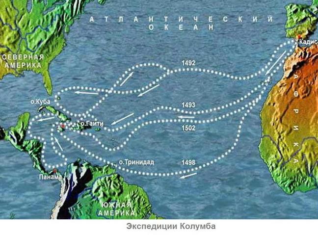 Карта путешествий Колумба